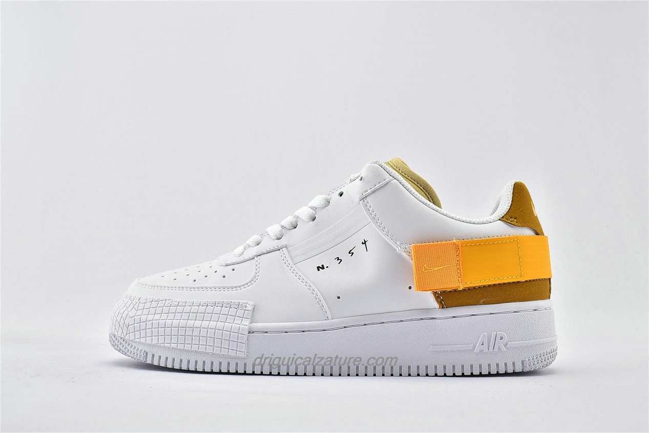 Scarpe Nike Air Force 1 AF1 TYPE Low AT7859 100 Bianca / Giallo / Marrone