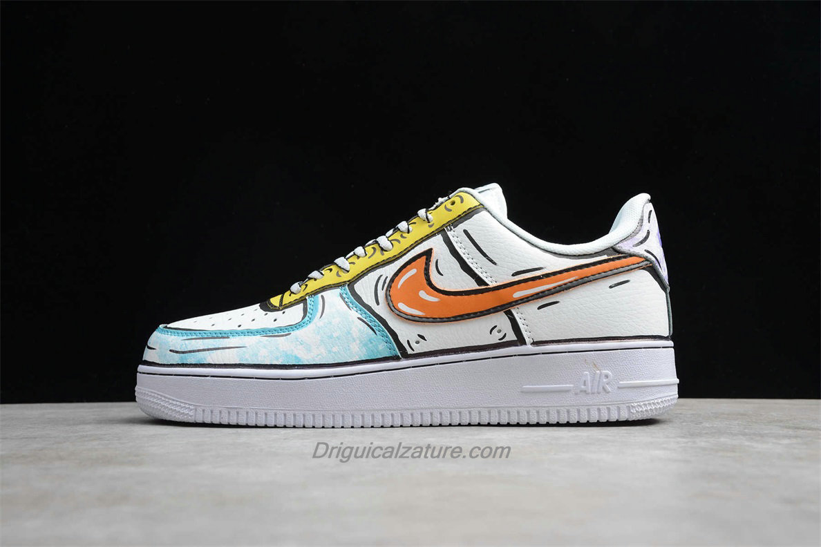Scarpe Nike Air Force 1 Low 07 SE AO9822 001 Bianca / Verde / Giallo / Arancia