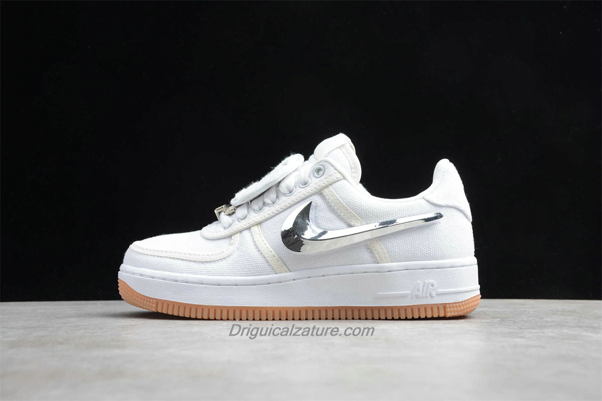 Scarpe Nike Air Force 1 Low TRAVIS SCOTT AQ4211 100 Bianca / Argento