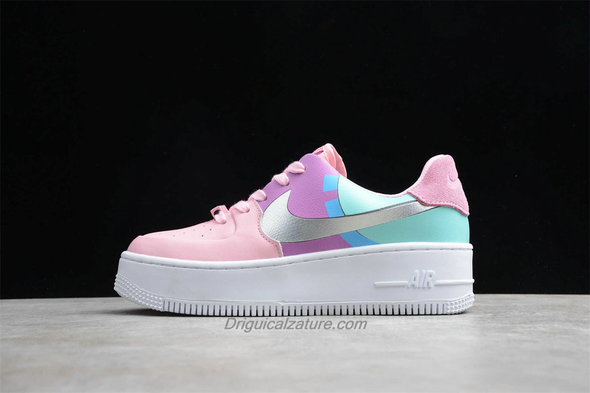 Scarpe Nike Air Force 1 Sage Low LX Platform BV1976 007 Donna Verde / Viola / Rosa