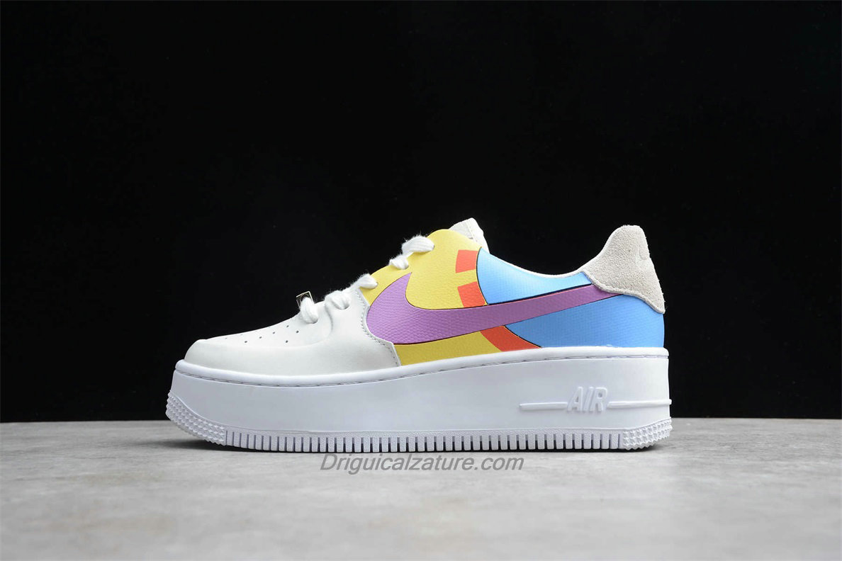 Scarpe Nike Air Force 1 Sage Low LX Platform BV1976 009 Donna Blu / Giallo / Bianca